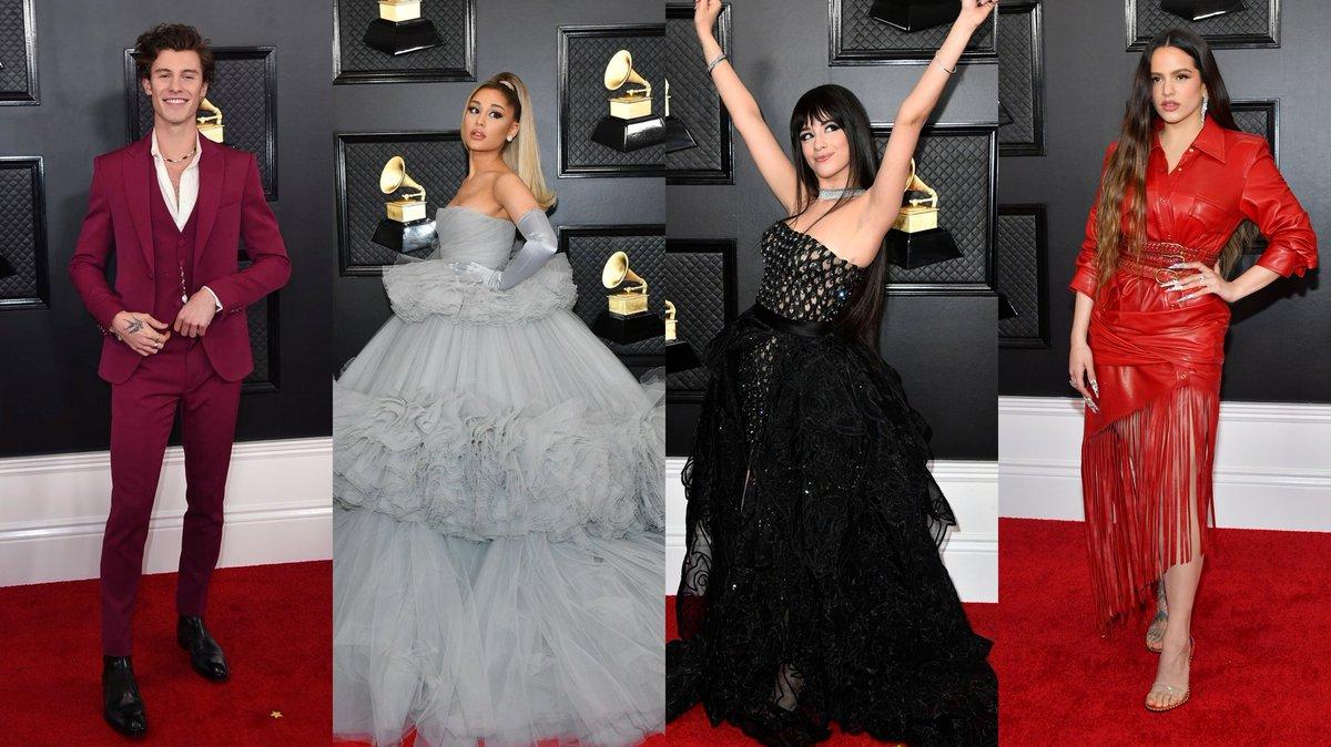 .@ArianaGrande, @Camila_Cabello, @rosaliavt, @ShawnMendes y muchos más artistas deslumbraron con sus looks en la Red Carpet de los #GRAMMYs   Todos los looks aquí: https://www.allboutpop.com/post/los-looks-de-los-grammy-2020…pic.twitter.com/Dqtn6lr5th