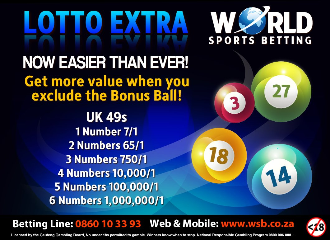 It pays to play LOTTO EXTRA at World Sports Betting! pic.twitter.com/dSG3i9ctsF