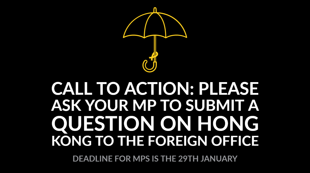 Please consider asking your local MP to submit a parliamentary question to the Foreign Office on the Hong Kong crisis. This will pressure government into taking action. Deadline for MPs is the 29th January. Find your local MP here:  https:// members.parliament.uk/members/Commons     Thank you. #StandwithHK<br>http://pic.twitter.com/870sQBAovh