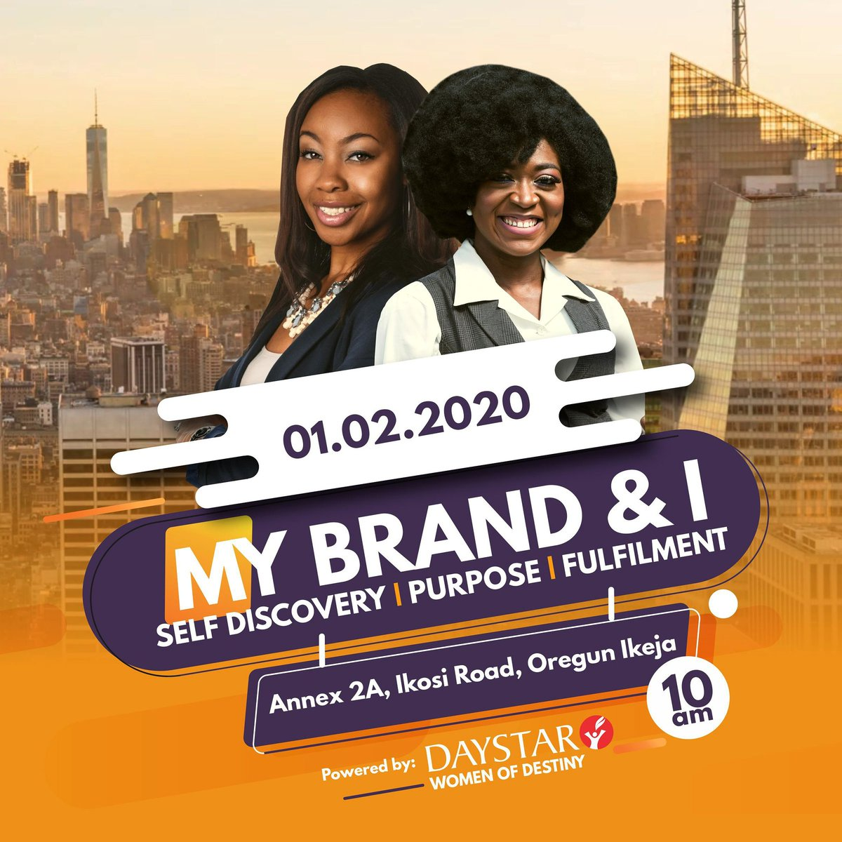 'My Brand & I' is an event put together by The Women Of Destiny to help you discover yourself, your purpose and find fulfilment.  It's happening this Saturday!   10am  01.02.2020  Annex 2a Ikosi Road, Oregun Ikeja   Invite a woman  #WOD #Women #DaystarNG<br>http://pic.twitter.com/bcwGaybNVD