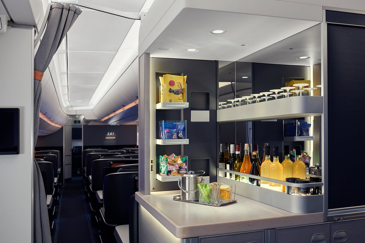 Raising the bar 🙌 Our new @Airbus A350 features a Refreshment Bar with cocktails exclusively designed by Stockholm bar Tjoget - one of the worlds @50bestbars - Welcome onboard✈️ #flysas #aviation #wearetravelers