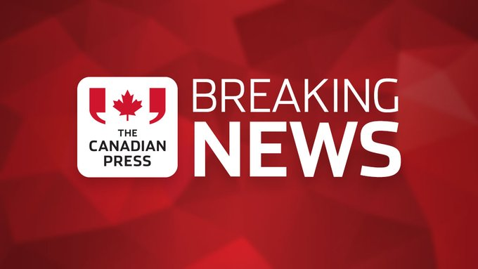 Canadian Press Breaking News logo on a red background.