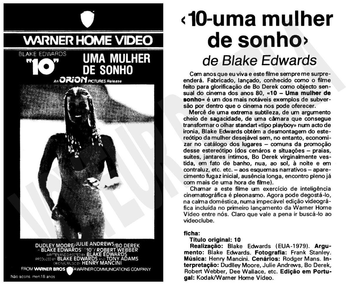 Cassete do dia...  #ten #blakeedwards #dudleymoore #julieandrews #boderek #70s #70smovie #vhs #vhsportugal #warnerhomevideo #insta #instamovies pic.twitter.com/8VrHf7uLKB