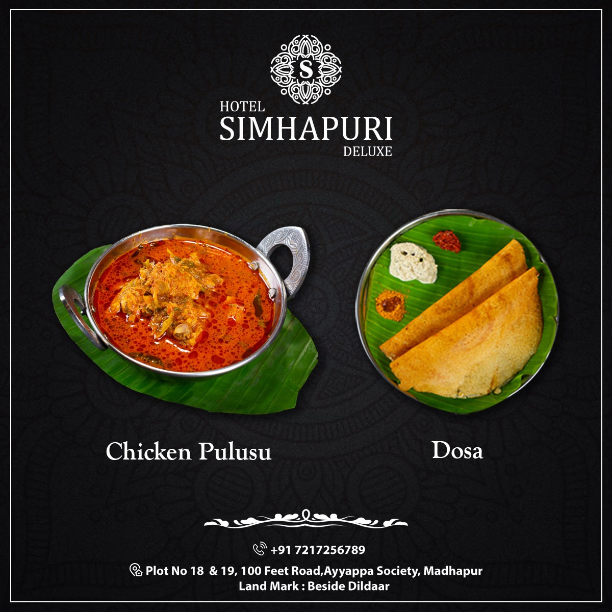 This Telugu food combination makes you feel like home!  Address: Plot No 18 & 19, 100 Feet Road, Ayyappa Society, Madhapur, Beside Dildaar. 📞 7217256789 #yummy #food #delicious #dosa #chickenpulusu #southindian #indianfood #foodlover #simhapuri #hotelsimhapurideluxe #Hyderabad