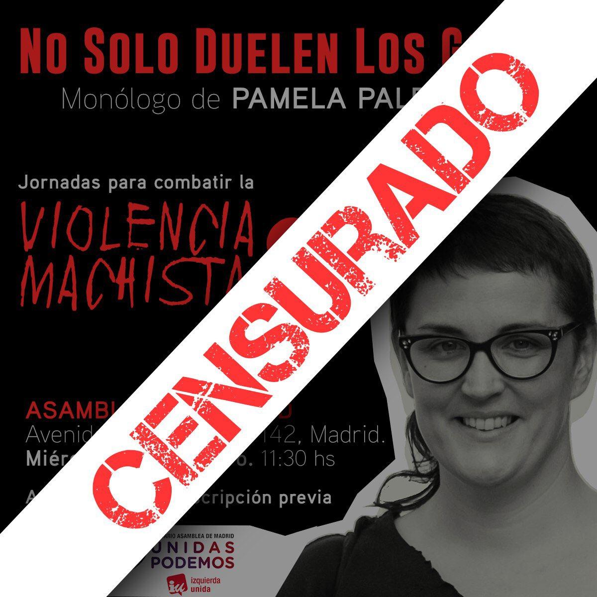 La Asamblea de Madrid veta la charla de @Nosolopam organizada desde nuestro grupo parlamentario para este miércoles. Pamela Palenciano fue víctima de violencia machista. Hoy ayuda a muchísimas jóvenes a identificarla. VOX lleva tiempo señalándola. Ahora Cs se suma a la censura.