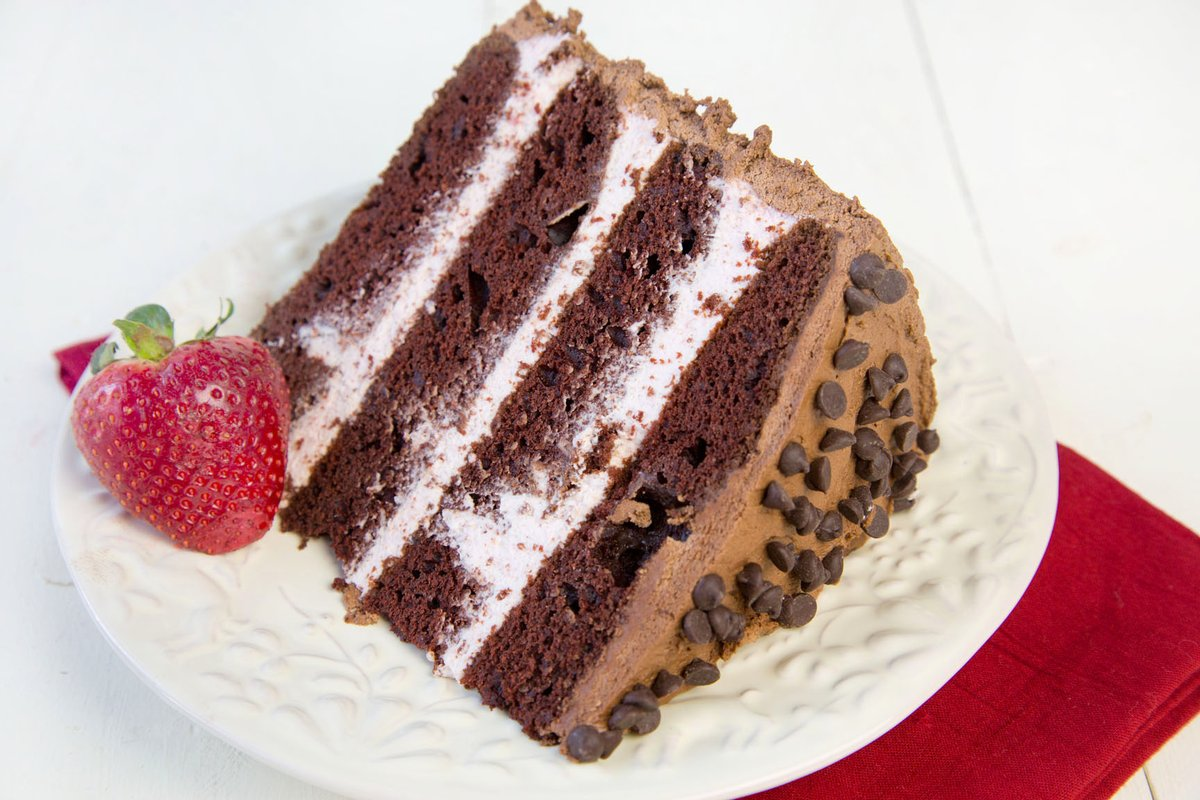 Four Layer Chocolate Cake with Strawberry Mousse Filling-  You don't have to wait for Valentine's Day to make this #Chocolate #Cake it would be a delicious way to say I love you any time of the year! Click this link for printable recipe-> https://t.co/hKdua4stMG #foodie #dessert https://t.co/jeAhkubMLy