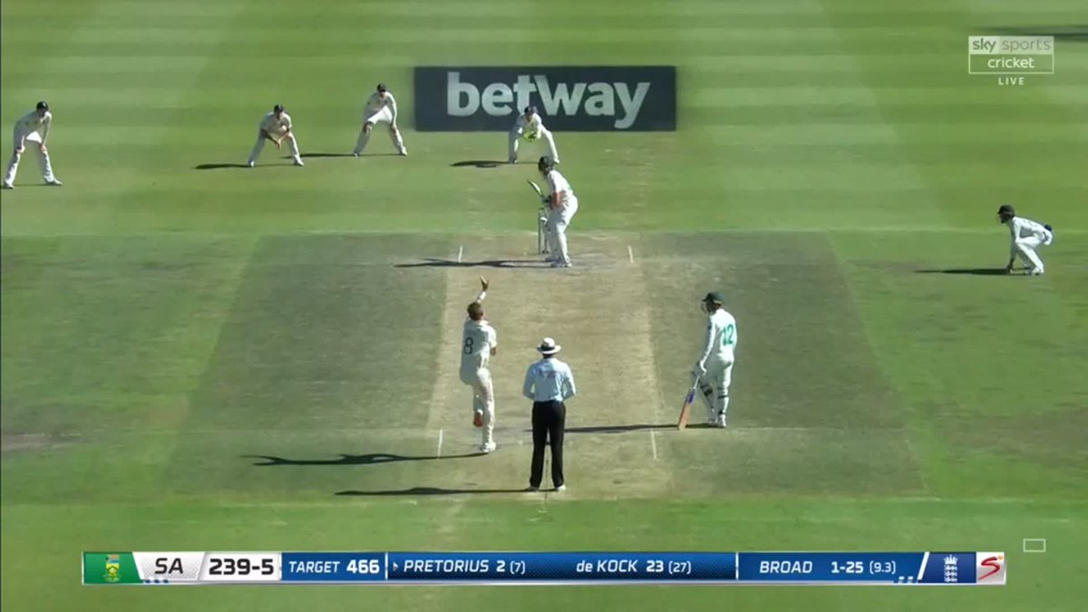 WICKET! England need 4️⃣ wickets to win after Pretorius skies Broad to Curran running in from deep fine leg 🇿🇦🏴 📺 Watch #SAvENG live: trib.al/Yw4xB03 📰 Over-by-over blog: trib.al/sdlf5PM
