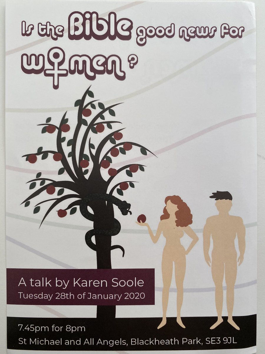 Is the Bible good news for women? A talk by @karensoole Tues 28th Jan @ 8pm St Michael's and All Angels, Blackheath Park, #SE3 9JLpic.twitter.com/70L6NsE6cO