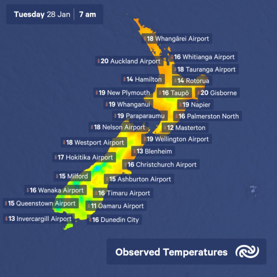 7am temperatures around Aotearoa. Things warm up through the day. Find out how much here: bit.ly/metservice. ^AJ https://t.co/EYS2LOwTl7