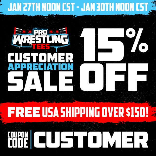 GOING ON NOW! Get 15% OFF everything at  including the BRAND NEW Joey Ryan 20th Anniversary in Wrestling Tour t-shirt during @PWTees Customer Appreciation Sale by using the coupon code: CUSTOMER