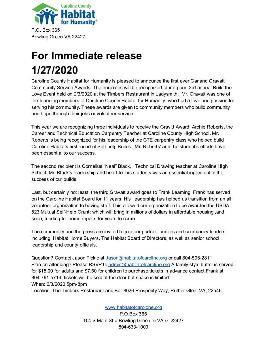 Member Happening: Caroline County Habitat for Humanity Garland Gravatt Community Service Awards is on Fredericksburg Area Builders Association FABA - https://www.fabava.com/caroline-county-habitat-for-humanity-garland-gravatt-community-service-awards/…. #FABA #CarolineCounty #CommunityServiceAwards #GarlandGravatt #HabitatForHumanitypic.twitter.com/xQAqssawAo
