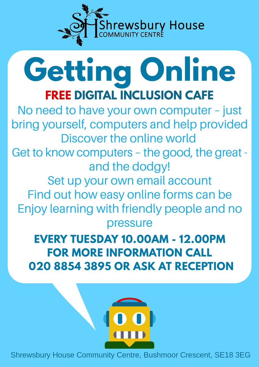 Do you know someone who is struggling to get online? Bring them along to our FREE digital inclusion cafe, every Tuesday, 10.00am - 12.00pm. #digitalinclusion #getonline #free #community #SE18 #Plumstead