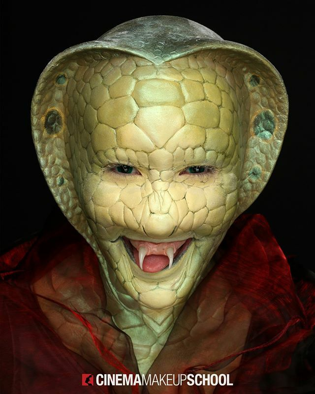 King Cobra 🐍 Makeup by student Justine Maust @justinemaust.mua on Zoe McClure. || #sfxmakeup #specialmakeupeffects #cinemamakeupschool https://t.co/9FNiJ47iCd https://t.co/FI1zNNVfXC
