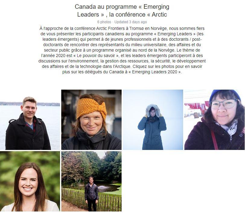 Nous sommes fiers de présenter les participants canadiens au programme #ArcticFrontiers Emerging Leaders de cette année. Quels grands ambassadeurs pour le Canada! https://bit.ly/37xXjNB