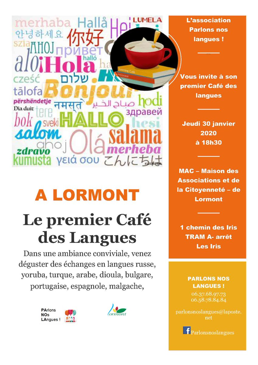 """Le premier café """"Parlons Nos Langues"""" aura lieu jeudi 30 janvier à 18h30 à la Maison des Associations. Venez échanger en russe, yoruba, turque, arabe, dioula, portugais, espagnol etc ... autour d'un café convivial ! #parler #échanger #ParlonsNosLangues #Lormont #association https://t.co/NJajZZpsOz"""