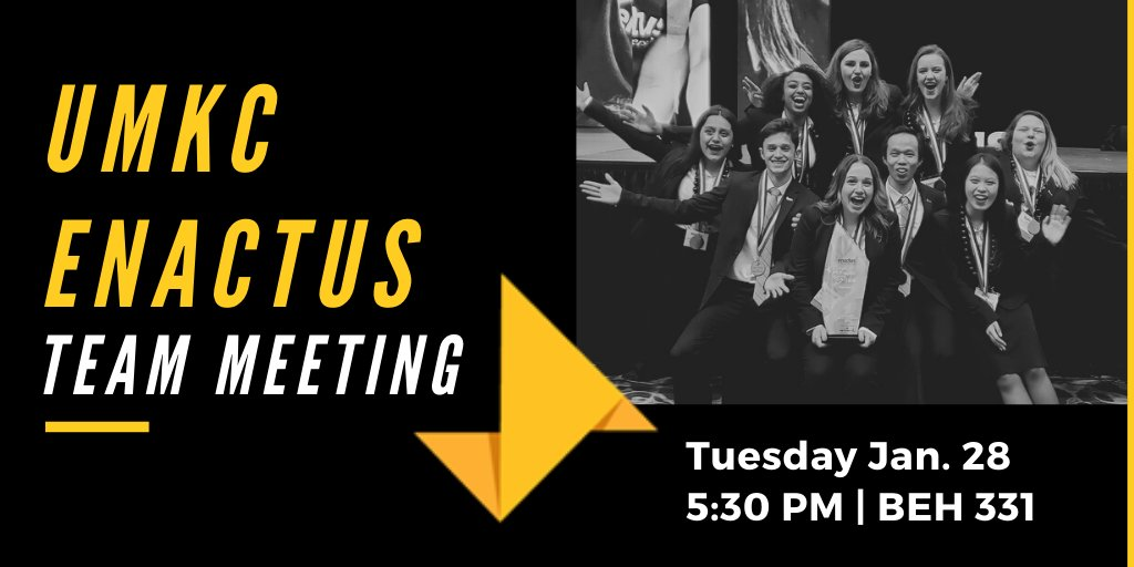 Learn how you can make an impact in Kansas City and across the world at our TEAM MEETING tomorrow at 5:30pm in BEH 331. #WeAllWin @enactus @Enactus_USApic.twitter.com/p7NgyYTuFk