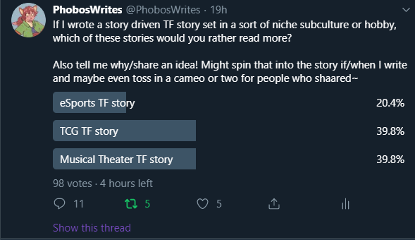 First of all holy hell I've never had a poll with around 100 replies, also jeeez TCG and Musical are very close!   I kinda wonder how results would be if I removed eSports, would one of the other two jump up way more? Or would it still be about even...  Either way, 4 hours left! pic.twitter.com/JwLNouMPCR