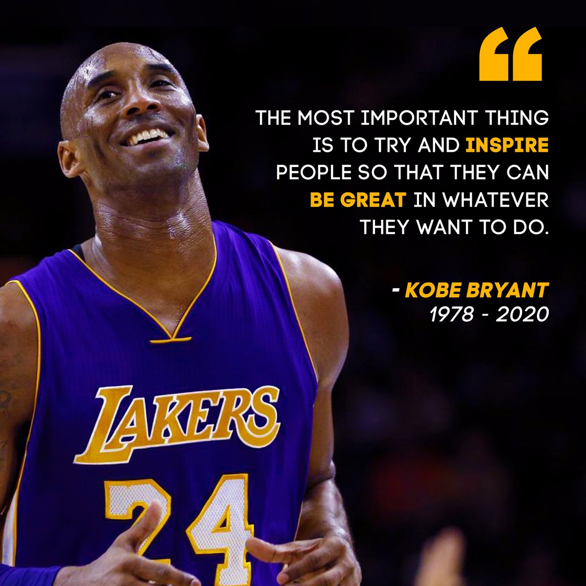 An inspiration to us all. Rest In Peace #KobeBryant<br>http://pic.twitter.com/Lkp31ZpCmF
