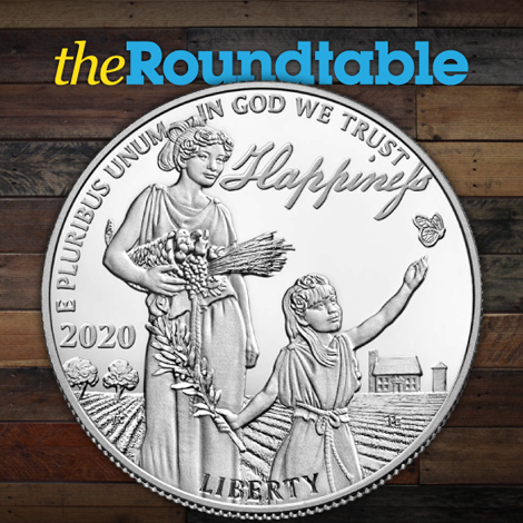 """#BlogPost Thursday will see the 3rd and final release in the 2018-2020 Preamble to the Declaration of Independence Platinum Proof Coin Series. Read more about the """"Pursuit of Happiness"""" today at #TheRountable! https://bit.ly/38CvCn0 #ProofPAE #CoinSeries #PursuitofHappiness pic.twitter.com/mrqUxNuGLl"""