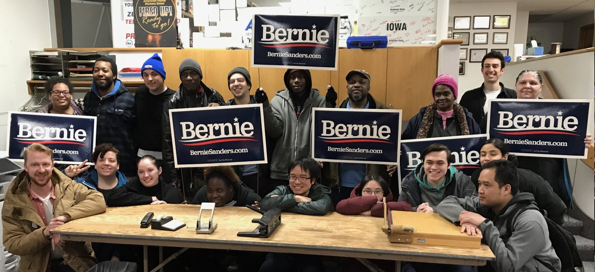 Big @BernieSanders canvass yesterday in Des Moines,IA with @standup_kc. Bernie yard signs outnumbered every other candidate in our turf.   Canvassed with Michael, a city worker who invited all of us to his Super Bowl Sunday BBQ. He pays $200/mo for heart meds. #BernieBeatsTrumppic.twitter.com/4LHPSRoIZb