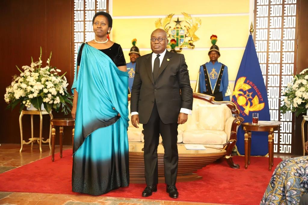 Today l've had the honor to present my credentials to H.E @NAkufoAddo in Accra. My most sincere gratitude to My President H. E @PaulKagame for the honor & trust. To Ghanaians & fellow Rwandans, l assure u of d best of our service! Akwaaba! Murakaza neza!