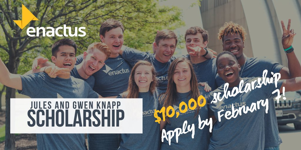 Less than 2 weeks to apply for this Enactus exclusive scholarship. $10,000 for school can be yours! To learn more and fill out your application click here: https://bit.ly/2Ojk4LS  #EnactusUSA #2020EnactusUSAExpo #WeAllWin #NextGenLeaderspic.twitter.com/7Mx1ylbEUn