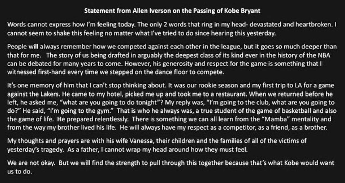 Allen Iverson Shares His Reaction To Kobe Bryant's Death