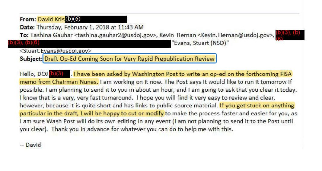 New FOIA docs: David Kris - recently appointed by the FISA Court to review FISA abuse - was clearing his op-eds attacking the Nunes memo with DOJs NSD (and Rosensteins #2) Kris: I will be happy to cut or modify the op-ed at your request.