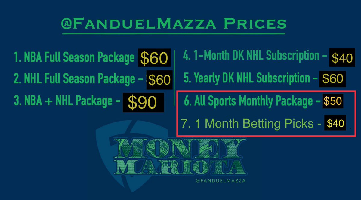 Here Are My Updated Prices   In Addition, I Have My 2020 Package Out For $300, Which Includes:  - NBA Yearly Sub. - NHL Yearly Sub. - MLB Yearly Sub. - NFL Yearly Sub. - Sports Betting Picks - FanduelMazza T-Shirt pic.twitter.com/zKQTNTe3B0