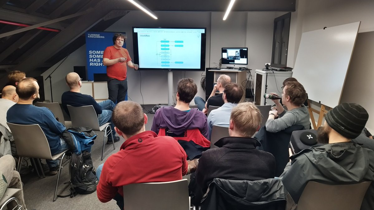 Tonight we're proudly hosting the @sprysys  Berlin #spryker user group at @turbinekreuzbrg. The first talk came with a load of otherwise hidden code: @cavar_si demystified what goes on behind the scenes of Spryker's checkout process. #ecommerce pic.twitter.com/wPan4OZFBX – at Turbine Kreuzberg