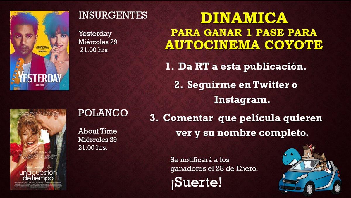 Hola amigas y amigos de Internet.  ¿Quieren ir a ver una película en el #AutocinemaCoyote?  Aquí les comparto la dinámica.  No olviden seguirme y también a @AutocinemaC   #Yesterday #AboutTime #Cine #CamiloTiburón