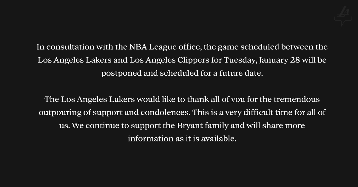 Los Angeles Lakers Release Statement Following Kobe Bryant's Death