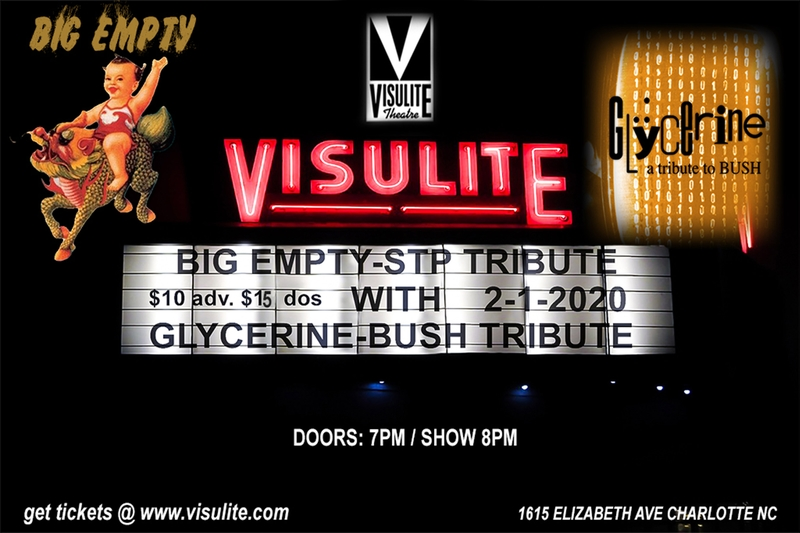 This Saturday 2/1 • Big Empty - A Tribute to Stone Temple Pilots with special guests Glycerine - A Tribute to Bush will be performing LIVE at the @VisuliteTheatre! $10 adv/$15 day of Grab your tickets http://www.visulite.com/showDetails.cfm?showID=10014…pic.twitter.com/OkMhA34t2U