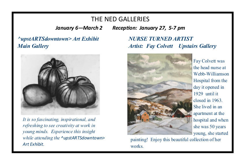 """TONIGHT! Don't miss the our Art Reception from 5 p.m. to 7 p.m. Featuring the ^upstARTSdowntown> Art Exhibit in the Main Gallery and """"NURSE TURNED ARTIST"""" by Fay Colvett in the Upstairs Gallery.pic.twitter.com/nP9OiFpPzZ"""
