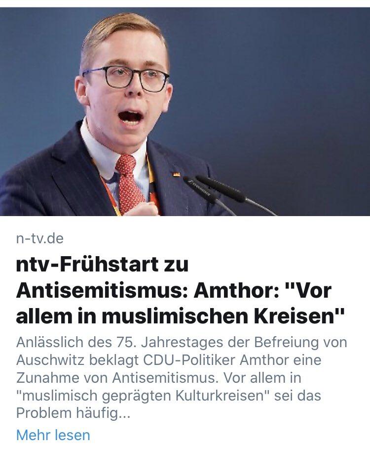 """Screenshot Schlagzeile ntv.de: ntv-Frühstart zu Antisemitismus: Amthor: """"Vor allem in muslimischen Kreisen"""""""