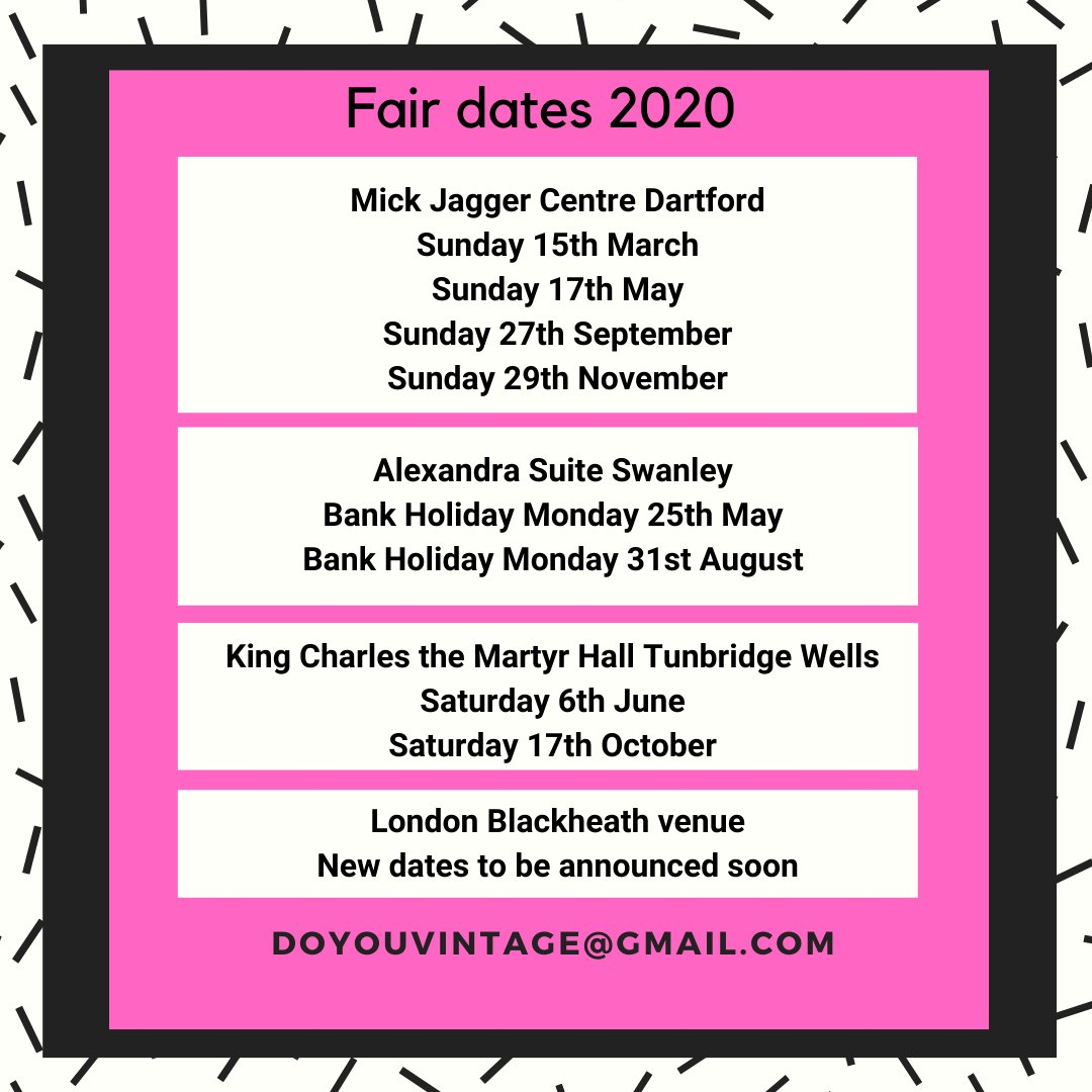 Check out all our Vintage & Craft fair dates for 2020.  We'll also be announcing an additional Blackheath venue soon.  To book a stall: doyouvintage@gmail.com #CreativeBizHour #MarketHour #londonhour #bexleyheathhour #Dartford #Swanley #TunbridgeWellspic.twitter.com/iKy2FtYN85