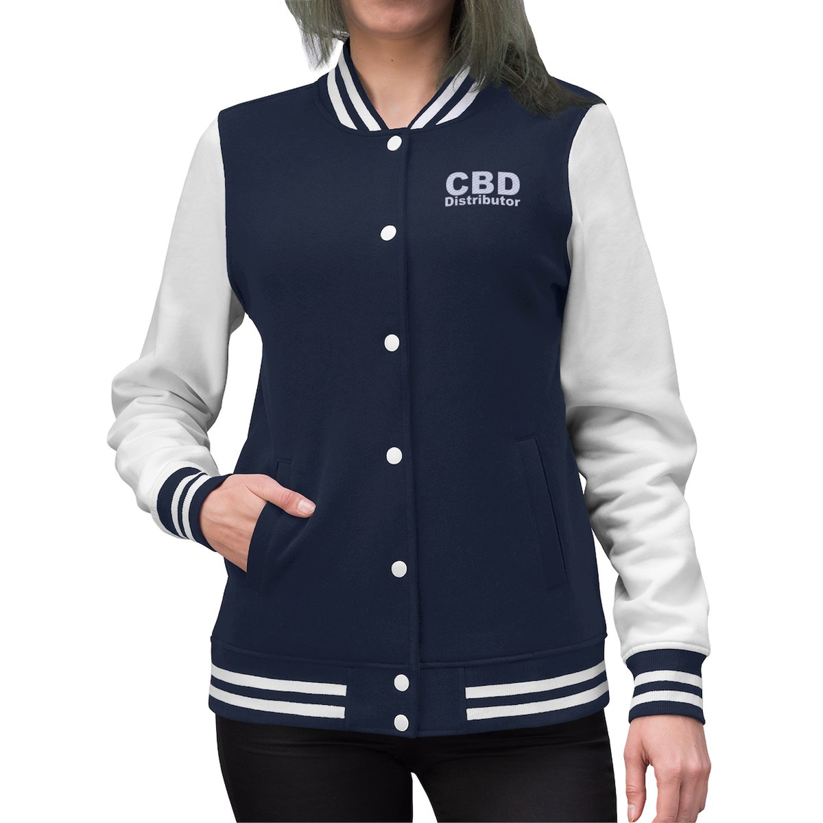 CBD Distributor Varsity Jacket - Promote your CBD Business with Marketing Merchandise - Because no one knows what you do until you tell them  #CBD #Hempdistributor #CBDdistributor #ctfo #hempworx #CBDMD #hempwHerbals #auroracannabis #swagforcbd