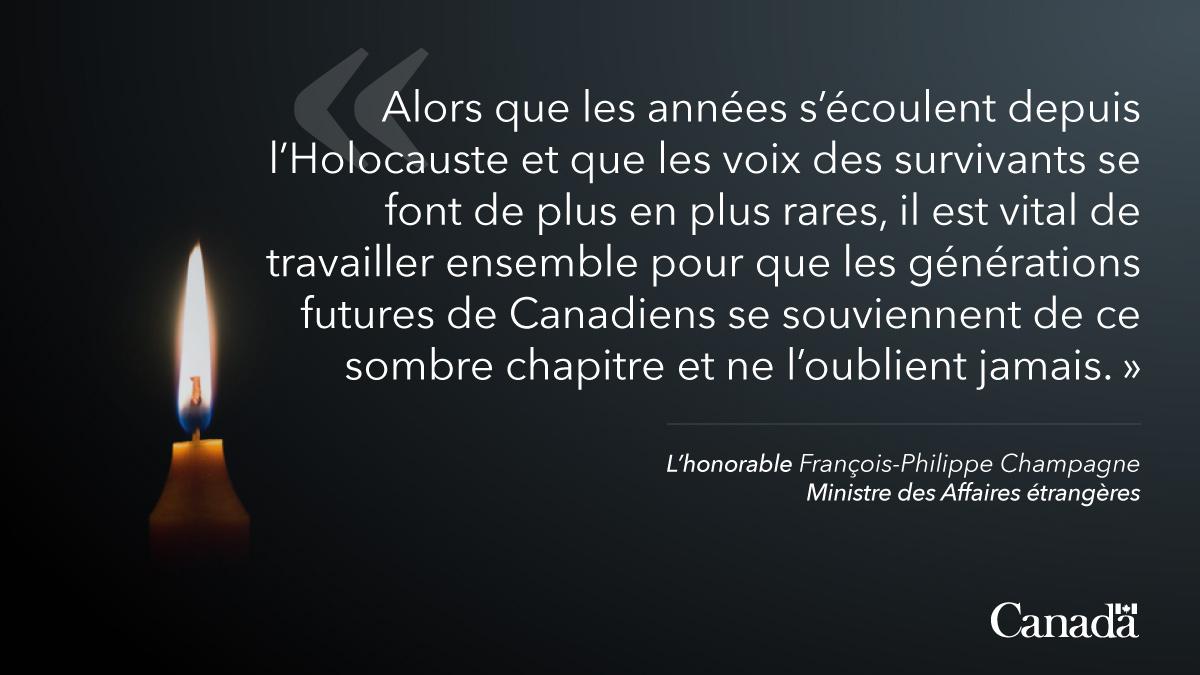 Déclaration du ministre Champagne à l'occasion de la Journée internationale de commémoration de l'Holocauste http://ow.ly/uWpR50y6hsT