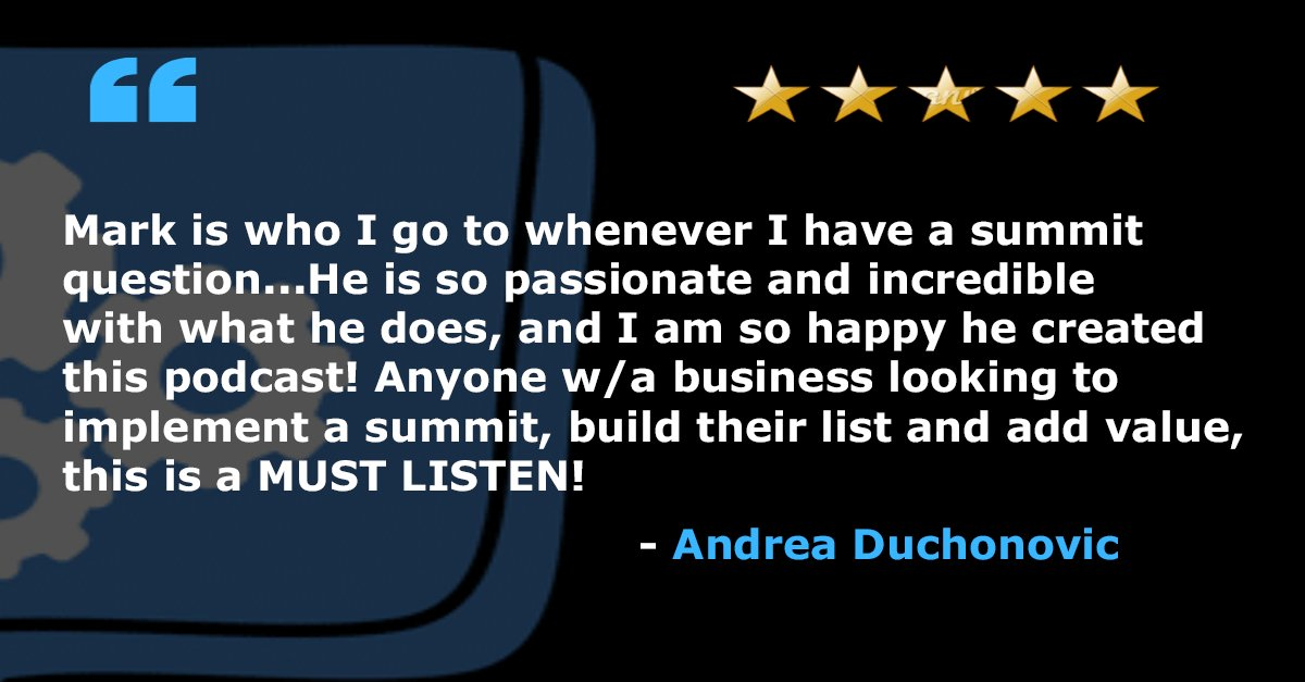 Got another fantastic review from Andrea Duchonovic, thank you so much!  #summitscripts #virtualsummit #virtualsummithost #virtualsummitstrategy #virtualsummittips #virtualsummitsuccess #profitablevirtualsummit #virtualsummitemail #virtualsummitcopy #virtualsummitmastery #podcastpic.twitter.com/9XIF0gTdJz