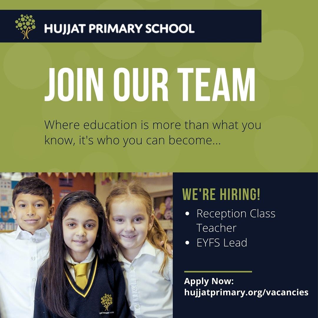 Join our team... Apply now!  http://HujjatPrimary.org/Vacancies . . #harrow #primaryteaching #primaryeducation #faithschool #islamicschool #vacancies #hiring #teachers #primaryschoolteacher #EYFSleadpic.twitter.com/QZ7KB0x7SU