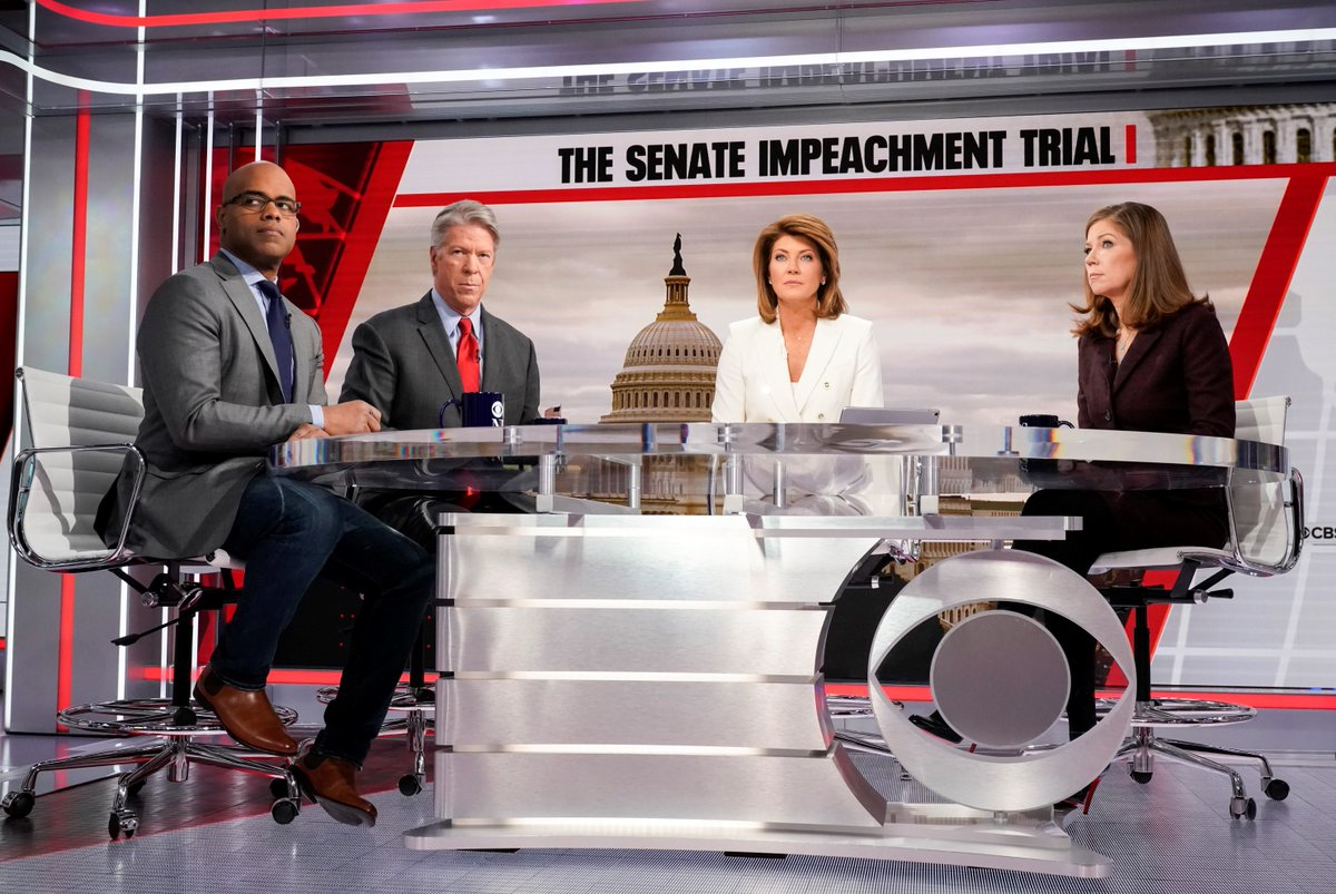 A behind-the-scenes moment today as @NorahODonnell was joined by @MajorCBS, @JanCBS, and @JamalSimmons in Washington for a @CBSNews Special Report on the Senate impeachment trial.