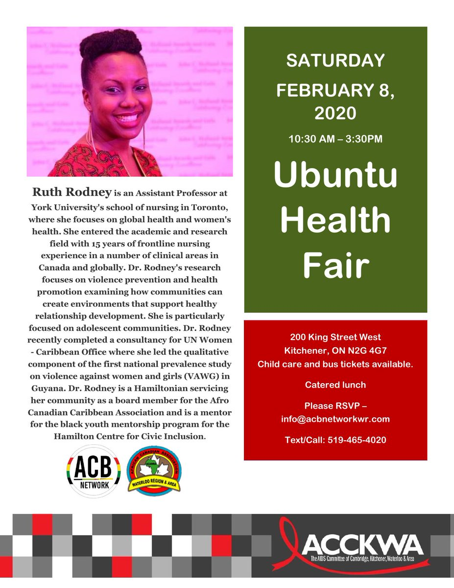 #DidYouKnow Race is recognized as one of the social determinants of health (factors effecting health outcomes) in Canada? Find out more at the Ubuntu Health Fair with our panelist Dr. Ruth Rodney #blackhealthmatters #blackhealth #kwawesomepic.twitter.com/H8DqLAh3Al