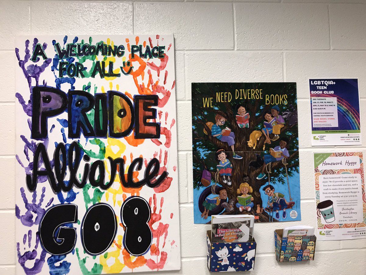 We love our PRIDE Alliance students and the beautiful sign they made for the library! Libraries are a safe and welcoming space for all. <a target='_blank' href='http://search.twitter.com/search?q=RepresentationMatters'><a target='_blank' href='https://twitter.com/hashtag/RepresentationMatters?src=hash'>#RepresentationMatters</a></a> <a target='_blank' href='http://search.twitter.com/search?q=APSLibrariesInclude'><a target='_blank' href='https://twitter.com/hashtag/APSLibrariesInclude?src=hash'>#APSLibrariesInclude</a></a> <a target='_blank' href='https://t.co/EPdMKOgrgP'>https://t.co/EPdMKOgrgP</a>