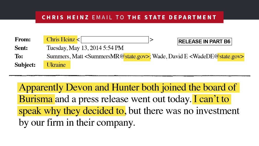 Even Hunter Biden's own business partner was so worried about the corruption and the geopolitical risks of being associated with Burisma that he wrote a letter to the State Department, formally distancing his company.