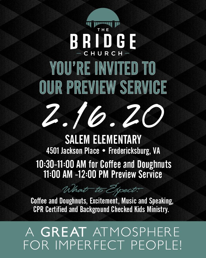 Join us on Sunday, February 16 for our final preview service! We're so excited for you to join us as we adjust, test, and allow you to get a taste of what Sundays at The Bridge will be like!  Join us at 10:30 for coffee and doughnuts! Worship starts at 11:00.pic.twitter.com/sQ5LGRD5bz