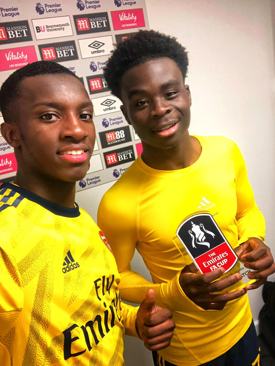 Replying to @Arsenal: How much love for these two tonight?! 😍   💛 @BukayoSaka87  💛 @EddieNketiah9   🏆 #EmiratesFACup