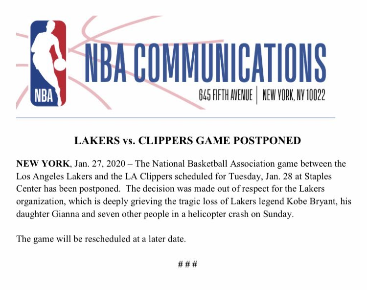 NBA Announces The Lakers vs. Clippers Game Is Postponed