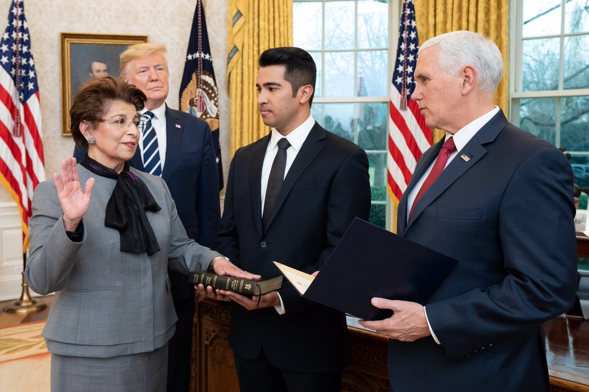 TODAY: Jovita Carranza was sworn in as the 26th Administrator of @sbagov  by President Trump and VP Pence in the Oval Office.   Official WH Photo by Tia Dufour.