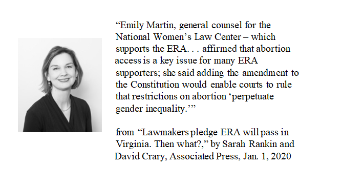 "Fluffy piece by @SchneiderG in WaPo on final OK by VA legislature.""Conservative opponents say ratifying the ERA would make it harder to limit abortion...assertions supporters dispute...""NARAL,NOW,Planned Parenthood, Women's Law Project,NWLC don't dispute!https://tinyurl.com/usmhtks pic.twitter.com/FPUOmVSM3P"
