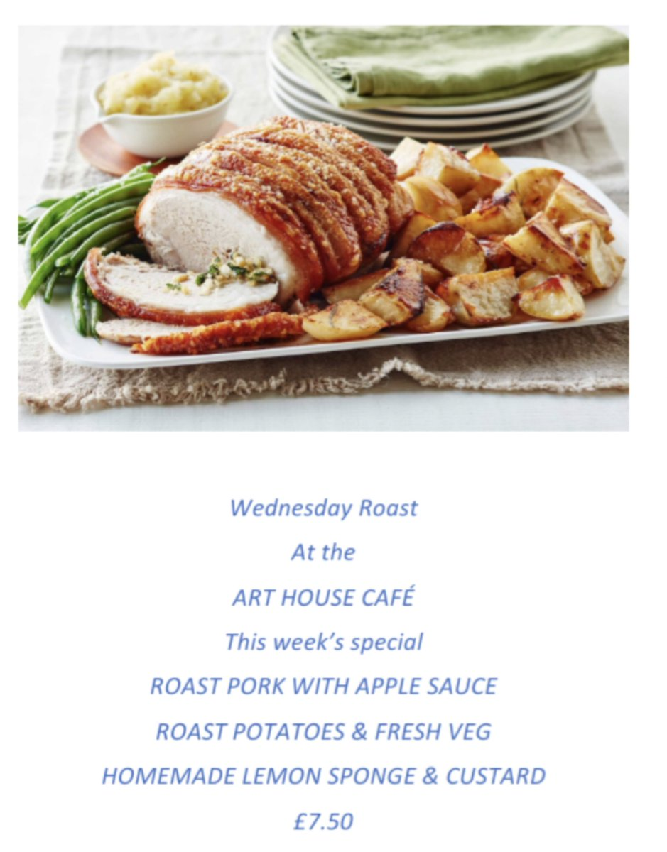 Come and join us this Wednesday afternoon at the Arthouse Cafe #melksham #wiltshire for some roast pork with apple sauce followed by homemade lemon sponge and custard.  All for £7.50  We look forward to seeing you.pic.twitter.com/LJc6WZMZiU
